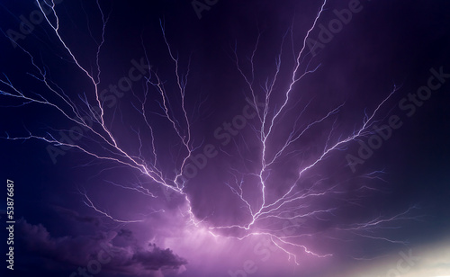 Ingelijste posters Onweer Powerful lightnings