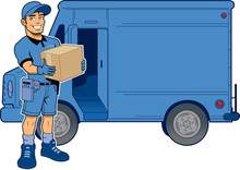 Express Delivery Man And Truck