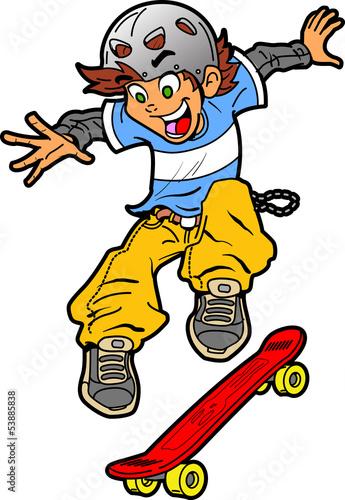 Fotografie, Obraz  Skateboarder Doing Trick