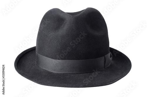 Fotografía  black male felt hat isolated on white background