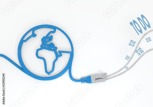 to do icon with network cable and world symbol Poster