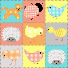 Seamless Background With Baby Animals From Fabric