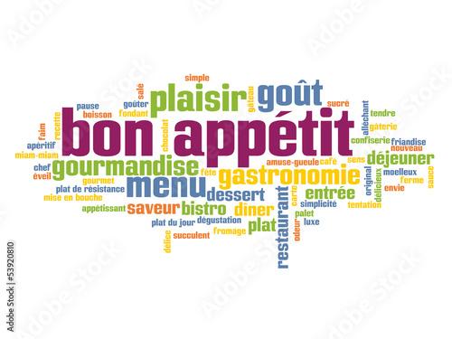 """Fotografie, Obraz  Nuage de Tags """"BON APPETIT"""" ( restaurant gastronomie menu))"""