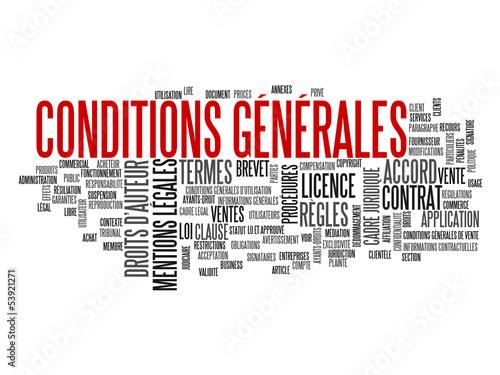 """Nuage de Tags """"CONDITIONS GENERALES"""" (vente contrat utilisation) Poster"""