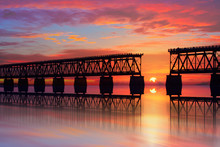 Beautiful Colorful Sunset Or Sunrise With Broken Bridge