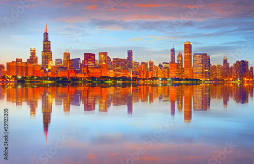 Poster Chicago City of Chicago USA, sunset colorful panorama skyline
