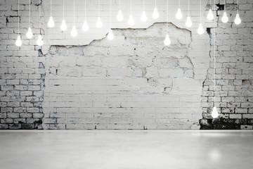 Fototapetadamaged brick wall with bulbs
