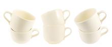 Ceramic Cream Colored Cup Pile Isolated