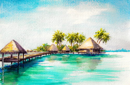 Obraz w ramie Over water bungalows in blue sea, watercolor painted.