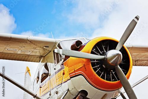 Canvas Print Flugzeug vor blauem Himmel