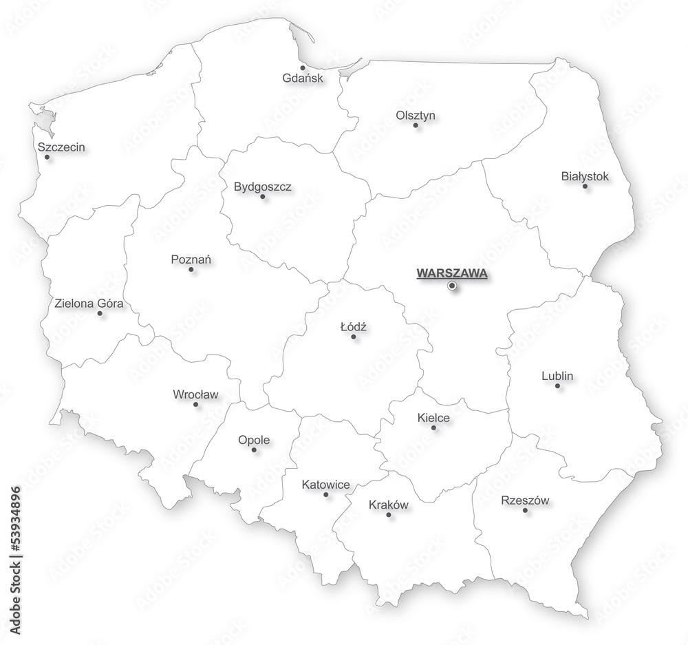 Fototapeta Na Lodowke Wektorowa Mapa Polski Z Wojewodztw Wally24 Pl