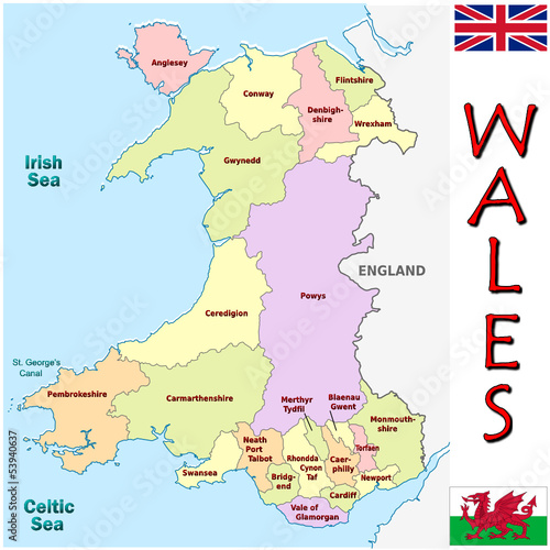 Map Of Europe And The Uk.Wales Europe Uk National Emblem Map Symbol Motto Buy This Stock