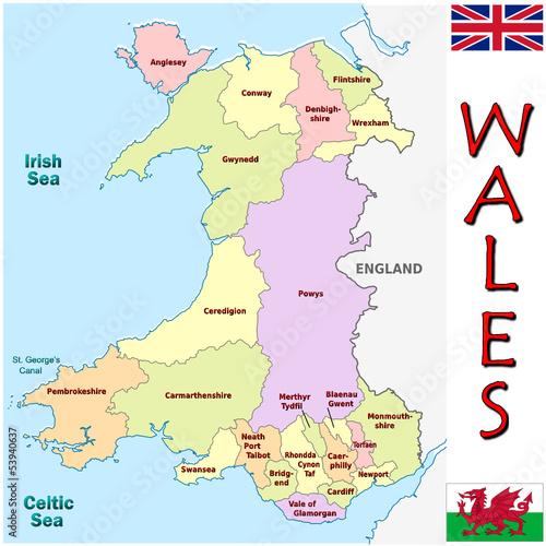 Detailed Map Of Wales Uk.Wales Europe Uk National Emblem Map Symbol Motto Buy This Stock