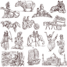 India And Indonesia - Traveling Collection, Hand Drawn Original