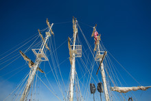 Masts Of A Replica Of A Sailing Boat With Speakers