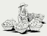Owocowy sprzedawca uliczny w Bangkok Tajlandia - 53946286