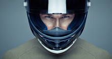 Handsome Man In Helmet On Blue...