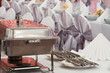 metal kitchen equipments on the table for fine wedding dining