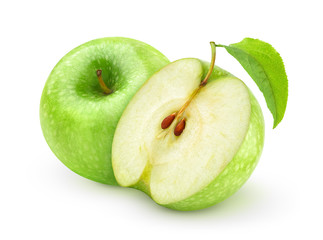 Isolated  apples. One whole green apple with leaf and a half isolated on white background