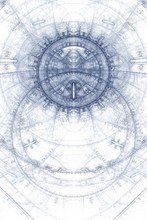 Asbtract Old Alchemic Symbols Theme, Blue On White
