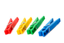 Closeup Image Of Colorful Clothespins Isolated