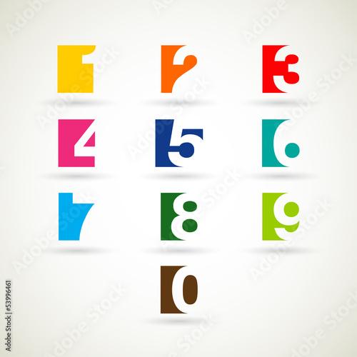 Photographie  Les chiffres fixés avec des couleurs vives