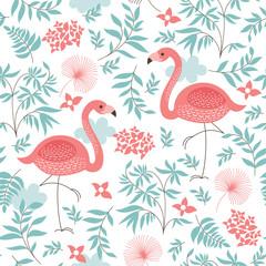 Tapeta seamless pattern with a pink flamingo