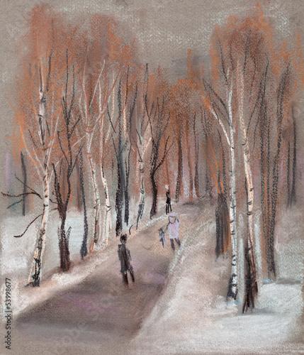 Nowoczesny obraz na płótnie Park in winter
