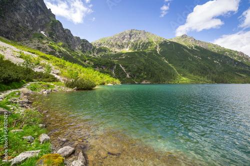 Fototapeta Beautiful scenery of Tatra mountains and lake in Poland obraz na płótnie