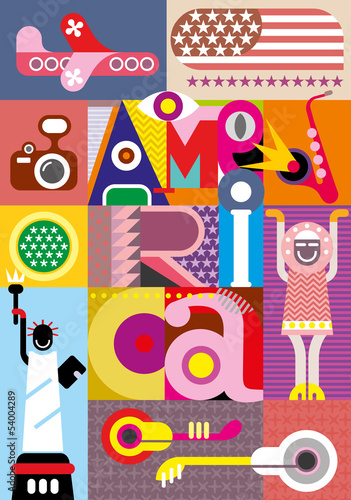 In de dag Abstractie Art America - vector text design