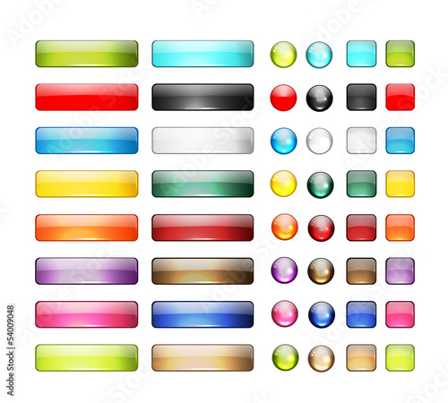 Photo  Set of glossy button icons for your design
