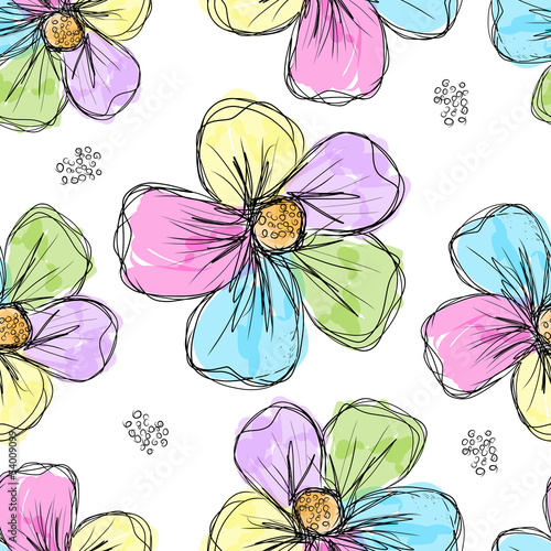 Tuinposter Abstract bloemen Floral seamless background for your design