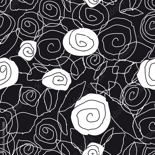 Poster Floral black and white pattern
