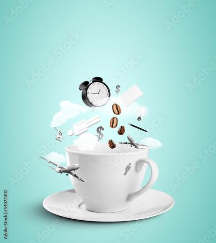 Poster Café en grains cup with social hurricane