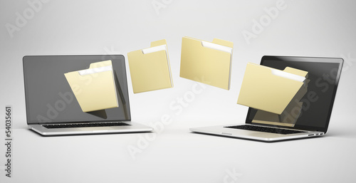 Fotografie, Obraz  transferring between two laptops