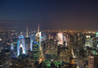 New York. Wonderful night view of Manhattan Skyscrapers and ligh
