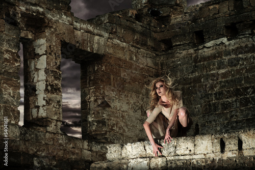Fantasy style portrait of the scary woman in the ruins Wallpaper Mural