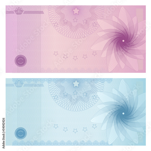 Gift Certificate Voucher Coupon Template Guilloche Pattern