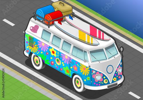 Isometric Rainbow Van in Front View Canvas Print