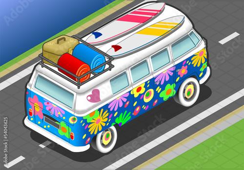 Isometric Rainbow Van in Front View Poster