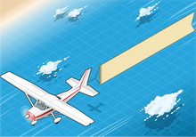 Isometric White Plane In Flight With Aerial Banner In Front View