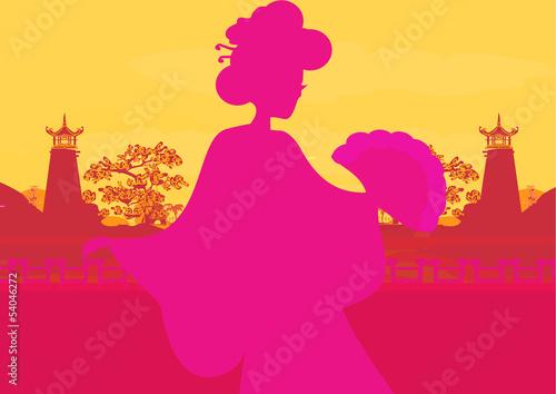 Poster Rose beautiful Asian girl