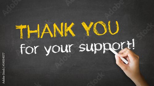 Vászonkép Thank you for your support Chalk Illustration