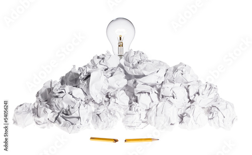 crumple white pendant lamp lighting workspace crumple white pendant lamp lighting problem solving concept light bulb on pile of crumpled paper crumple white pendant lamp lighting