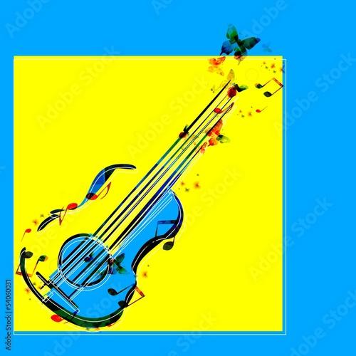 Plakat na zamówienie Colorful music guitar background. Vector