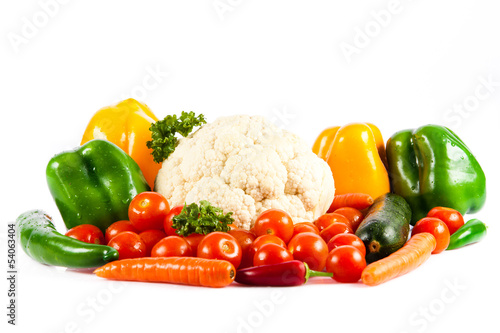 Poster Légumes frais different vegetables isolated on white background