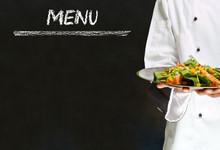 Chef With Healthy Salad Food On Chalk Blackboard Menu Background
