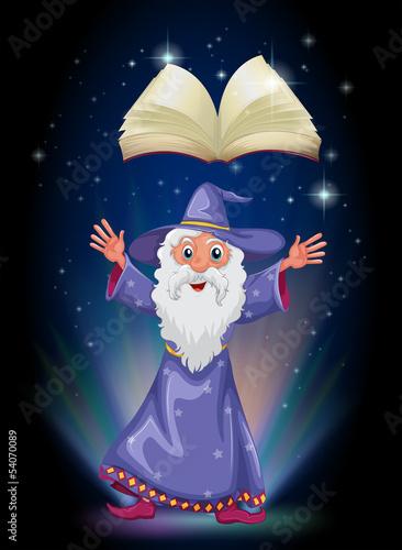 La pose en embrasure Fées, elfes An old wizard below the floating empty book