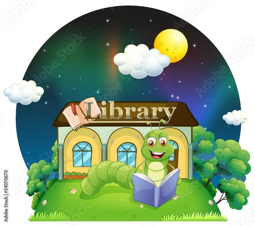 Foto op Aluminium Magische wereld A worm reading a book in front of the library