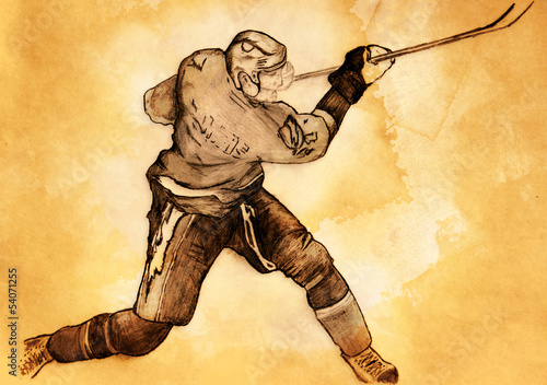 Photo  sketch of the hockey player